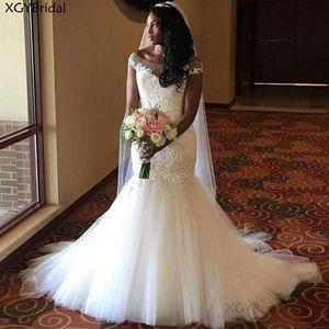 New Arrival Off Shoulder Mermaid Wedding Dress 2021 Cap Sleeve Lace Applique Long Bridal Dress Party Dresses Plus size Africa