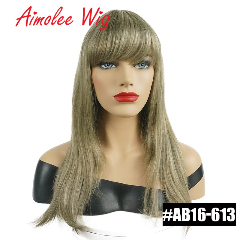 20Inch Long Natural Straight Wig with Bangs Human hair Blend Wig Synthetic Ombre Blonde Highlight Women Daily Wig with Soft Hair