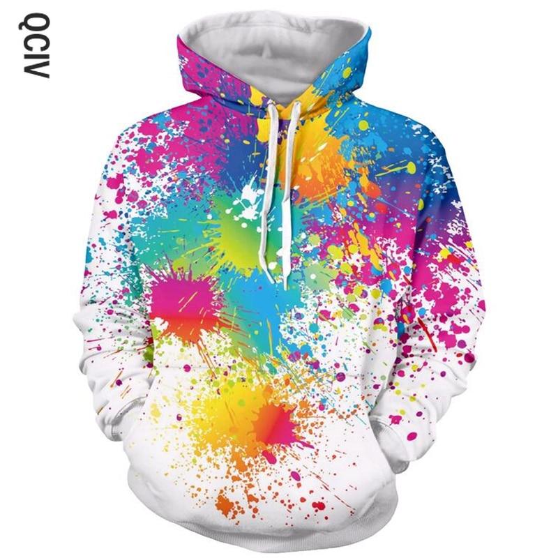 Men Women Fashion Brand hoodies Paint Splatter 3D All Over Print Hip Hop Casual Hoodie Hipster Rainbow 3d hooded sweatshirt
