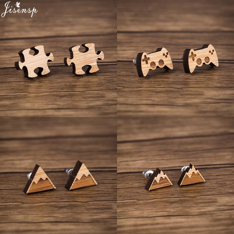 Jisensp, простой дизайн, Панк пазл, деревянные серьги, уникальная мода, геймпад, серьги-гвоздики для женщин, друзей, ювелирное изделие, подарок, б...