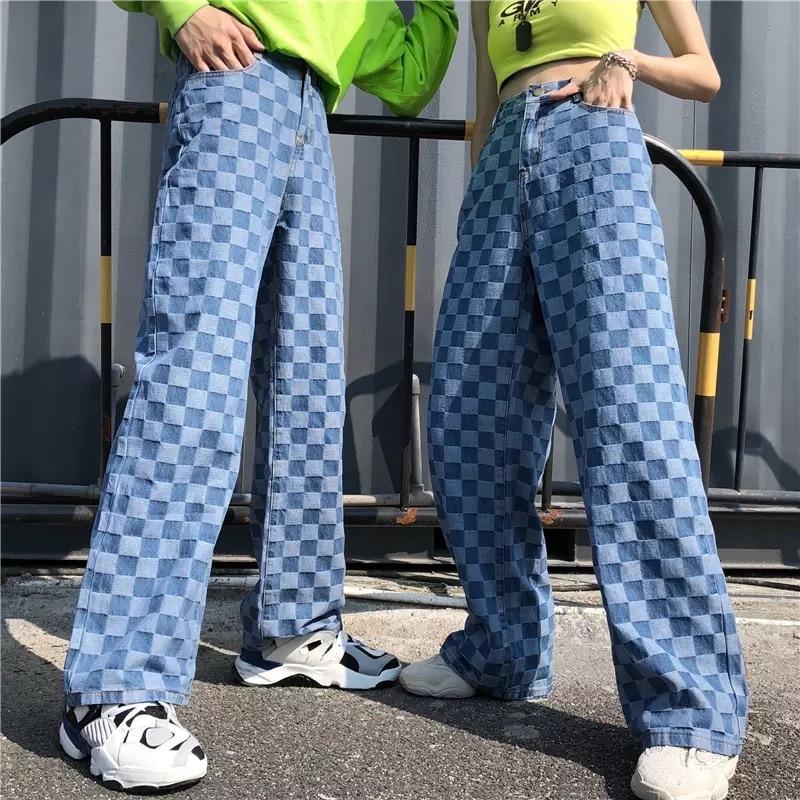 QWEEK Gothic Harajuku Black Cargo Pants Women Chain Wide Leg Goth Hippie Streetwear White Trousers Loose Female Baggy Fashion