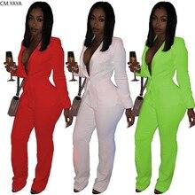 CM.YAYA Vintage femmes ensemble à manches longues Blazer hauts pantalon costume vêtements actifs bureau dame survêtement deux pièces ensemble Fitness tenue