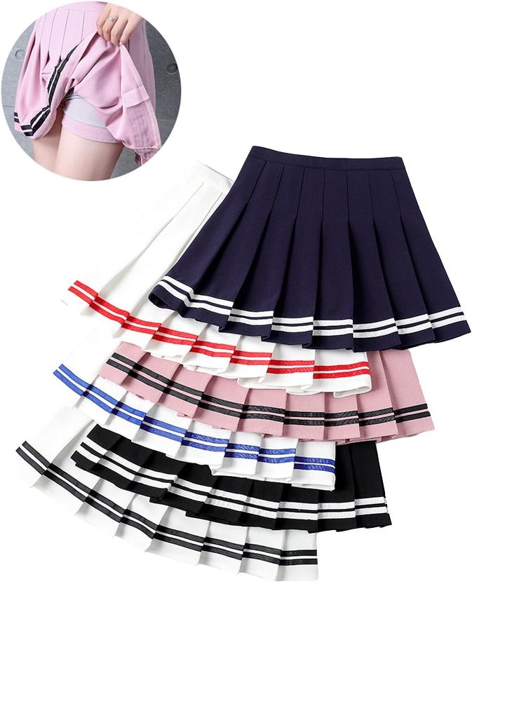 Y2k Summer Korean Fashion Short Women Skirt Casual Slim Elastic High-Waisted Striped Harajuku Pleated Plaid A-Line Mini Skirts