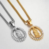 hip hop iced out bling virgin mary necklaces pendants gold color stainless steel madonna necklace for women jewelry gift