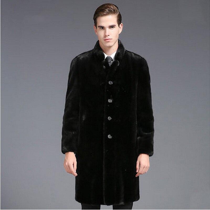 ارتفاع تقليد فرو منك سترة جلدية الرجال طويلة كاملة المنك تقليد الفراء معطف سترة الرجال الأوروبية والأمريكية