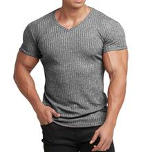 Running V Neck Short Sleeve T Shirt Men Fitness Slim Fit Sports Strips T-shirt Fashion Tees Tops Sum