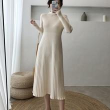 Automne hiver longue robe pull femmes à manches longues OL lady épaisse a-ligne robe femme pull o-cou mince robe en tricot