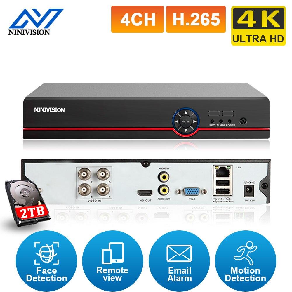 مسجل فيديو H.265 4CH 4K Hybrid DVR ، كشف الوجه ، 8 ميجابكسل ، CCTV AHD ، 4 قنوات ، مراقبة فيديو DVR لكاميرا IP التناظرية CVI XMEYE