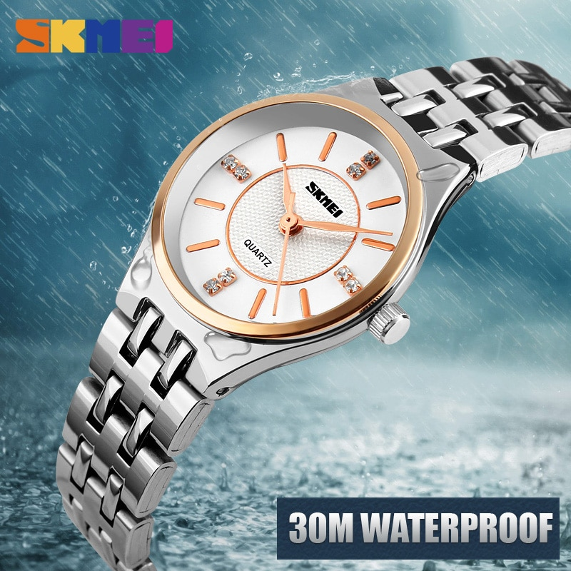 SKMEI NEW Ladies Watch For Women Fashion Quartz Wristwatch Luxury Top Brand Stainless Stell Strap Watches Waterproof Reloj enlarge