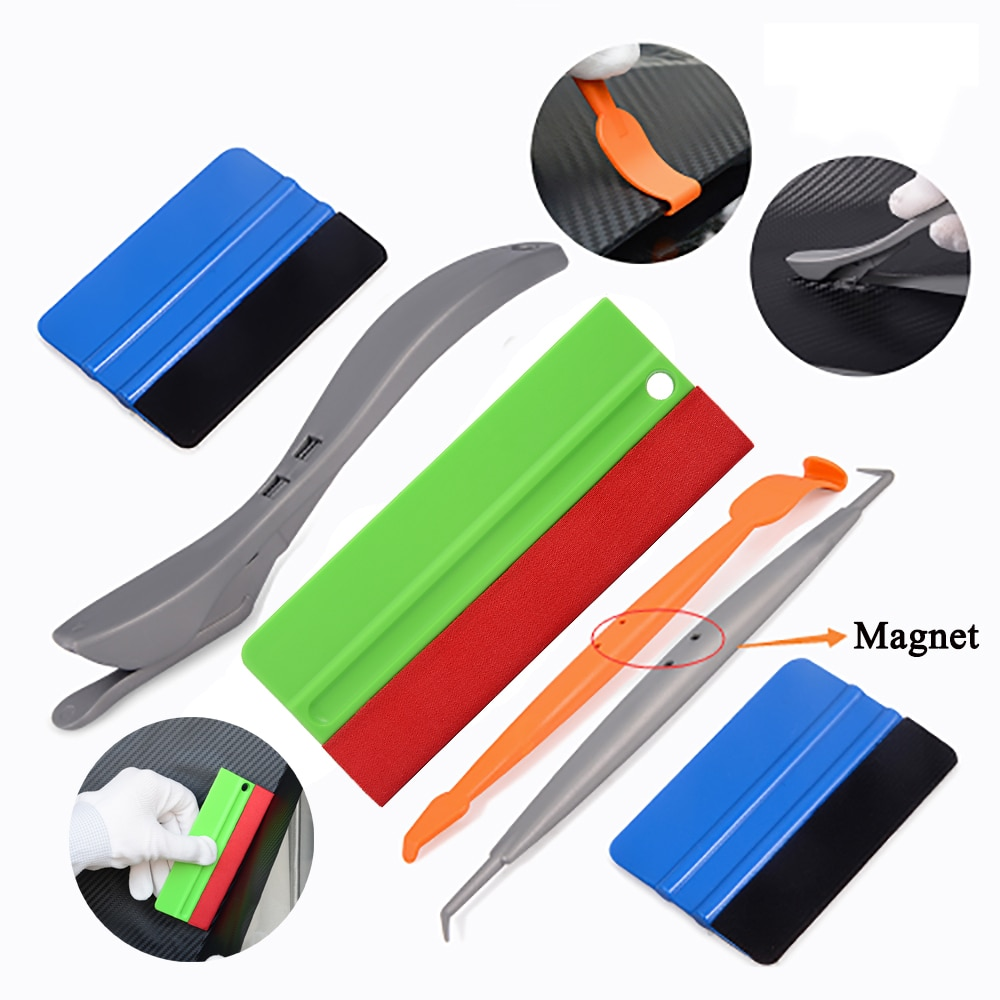 EHDIS, revestimiento para coche, escurridor de vinilo con imán, conjunto de escurridor, película de embalaje, utensilios con cuchillas, Kit de lámina de fibra de carbono, accesorios de cortador de autoadhesivo
