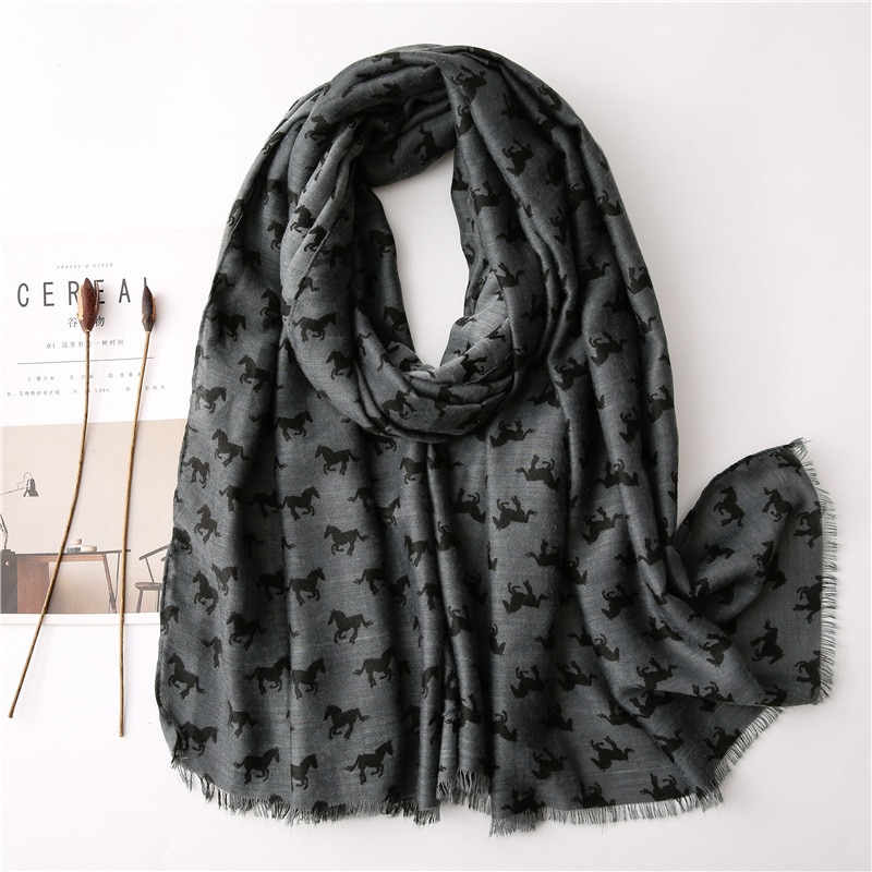 New Style Women Solid Horse Print Scarf Girls Spring Summer Grey Animal Printed Cape Shawl Wrap Long
