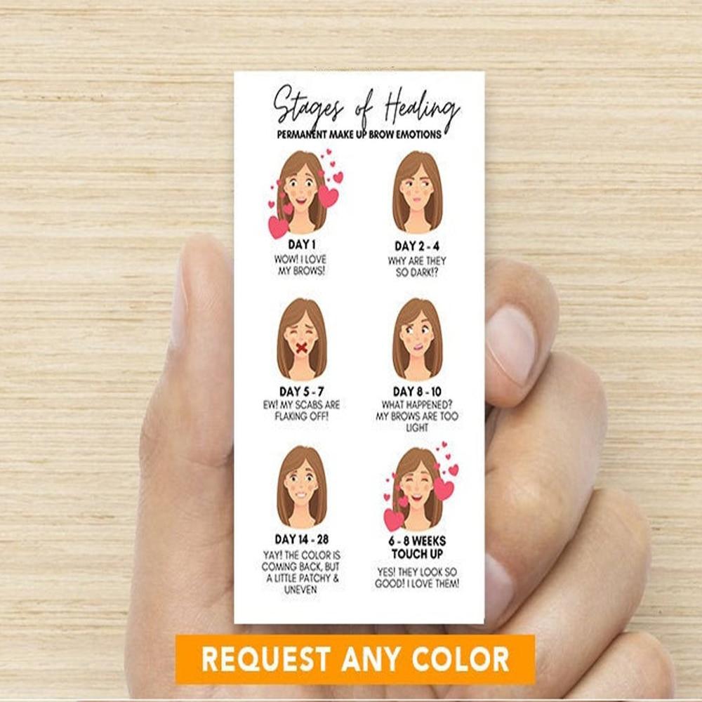Personalizar las etapas de maquillaje permanente de la tarjeta de emociones   Tarjeta de emociones PMU   Etapas de curación   Cejas