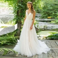 bridal 2019 summer beach wedding dress sexy double v neck backless lace appliques court train a line bridal dress