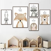 deer bear fox rabbit raccoon nursery wall art canvas painting nordic posters and prints wall pictures for baby kids room decor