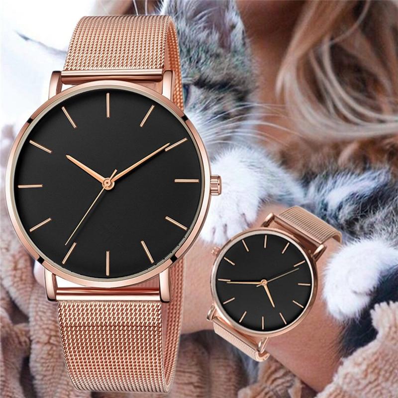 Женские часы розовое золото, женские часы 2020, женские ультратонкие модные часы с сетчатым ремешком, Роскошные наручные часы