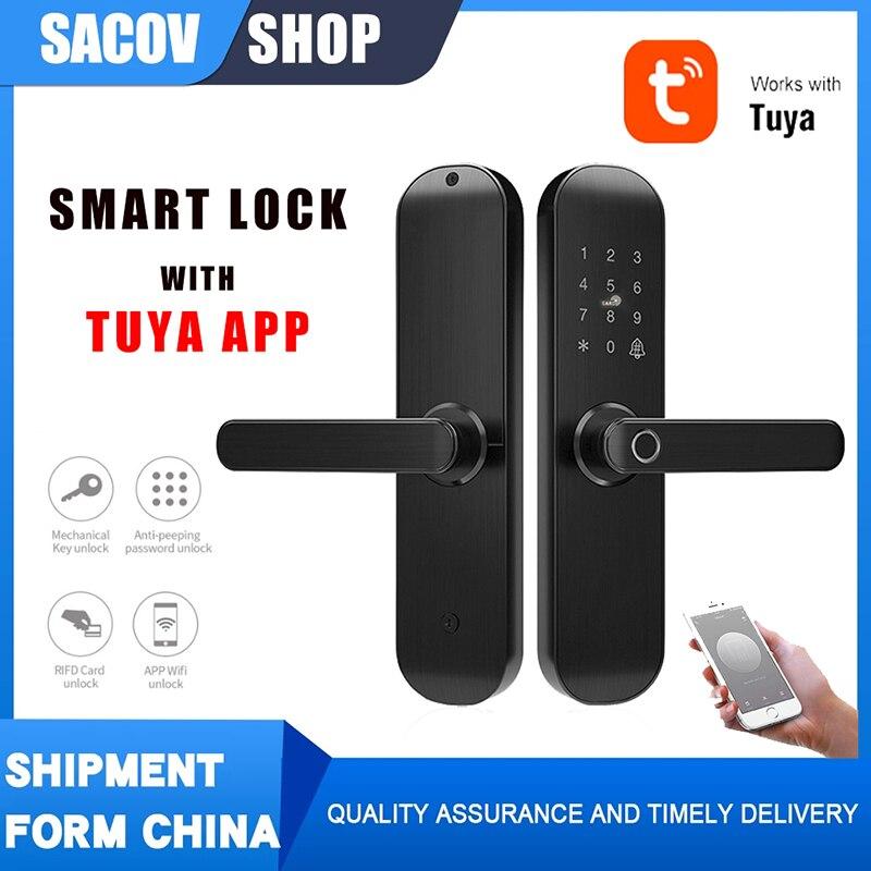 app TUYA Smart Door Lock Digital Code Fingerprint Lock with WiFi Smart Life App hotel door lock apartment tuya app smart lock by app