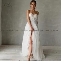 adln romantic pearls wedding dresses luxury detachable bride dress 2021 a line robe de mariage custom made bride dress