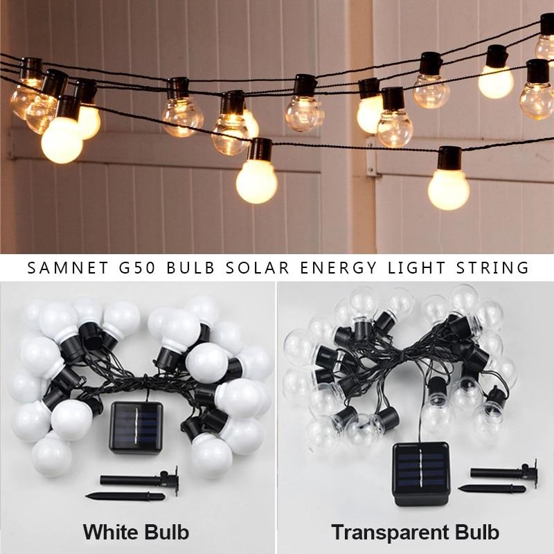 Уличная гирлянда, светодиодная уличная гирлянда с лампочками G50 на солнечной батарее в качестве Рождественского украшения, лампа для дома, ...