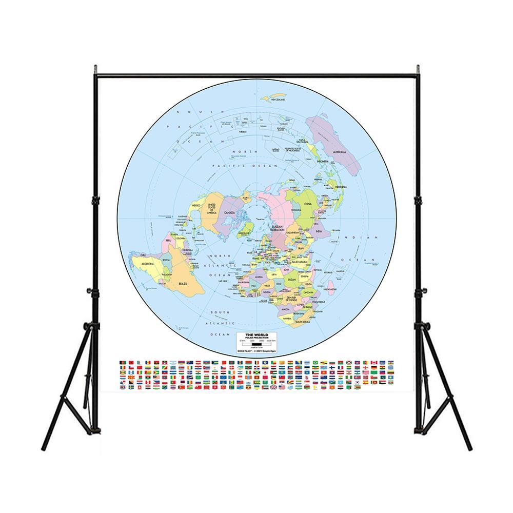 Mapa del mundo de proyección Polar de 150x150cm no tejido rociador impermeable mapa del mundo con bandera nacional