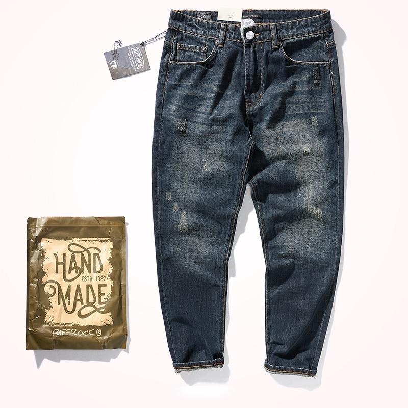 Американские ретро тяжелые прямые джинсы мужские осенне-зимние темные джинсовые брюки