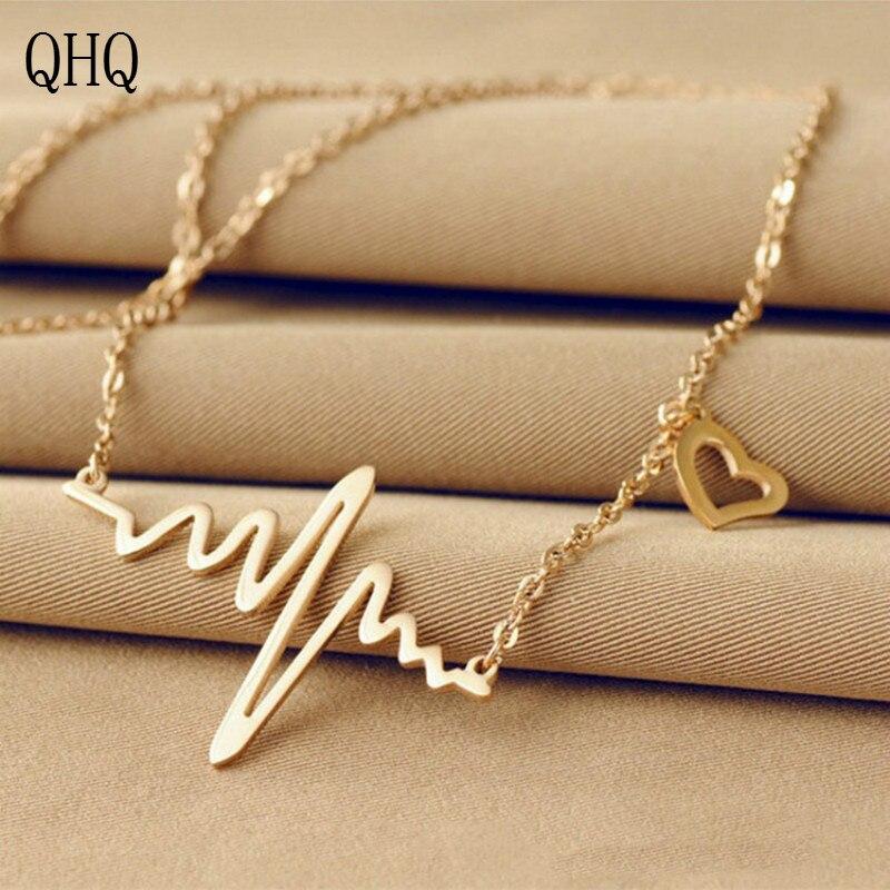 QHQ colgante collar cadena chocker corazón sin cuello mejor amigo acero titanio moda accesorios mujer joyería regalos para mujeres