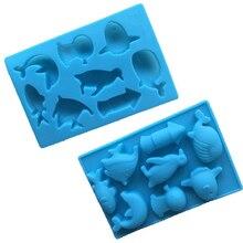 8 loch Silikon Kuchen Form Pasteleria Kuchen Schablone Backen Werkzeuge Wal Delphin Fisch Pinguin Form Schokolade Seife Fondant Formen