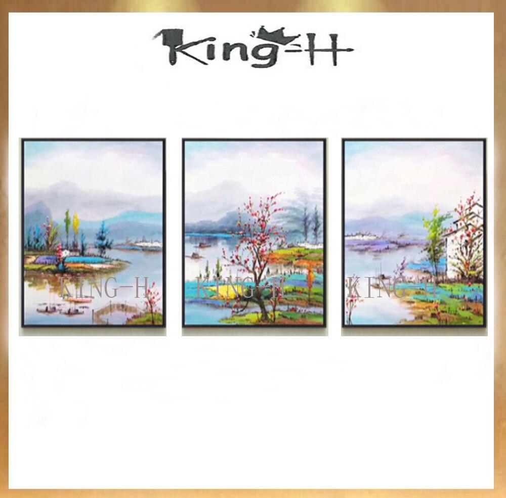 Combinación de 3 p pintura al óleo pintada a mano paisaje montaña textura gruesa, decoración de la pared del dormitorio del comedor de la sala de estar