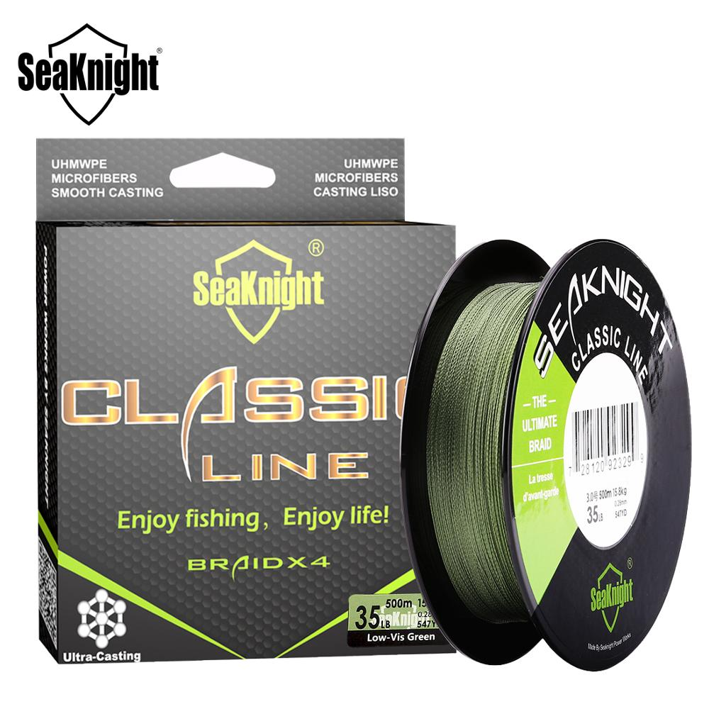 SeaKnight Classic 300M 500M trenzada línea de pesca de 4 hilos línea de PE trenza multifilamento línea de pesca 6 8 10 15 20 30 40 50 60 80LB