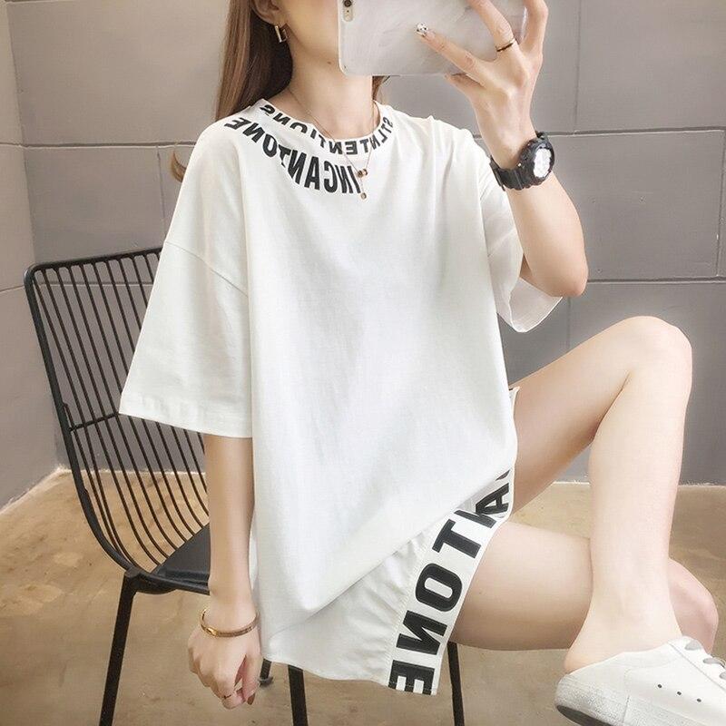 Camiseta blanca para mujer, blusa holgada de manga corta con cuello redondo...