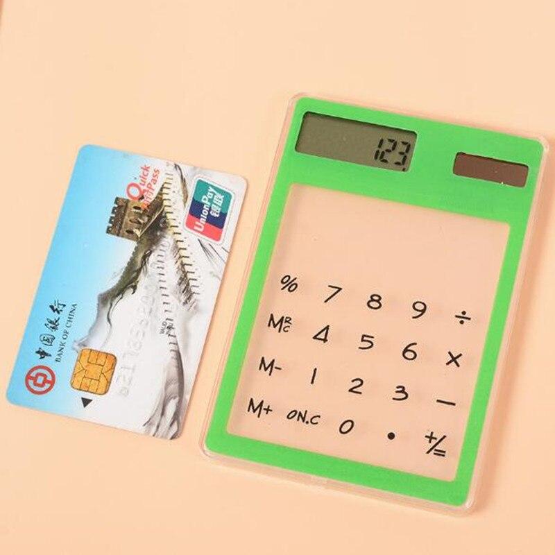 Calculadora útil LCD de 8 dígitos con pantalla táctil, material de papelería Solar Ultra delgado transparente, Oficina científica clara