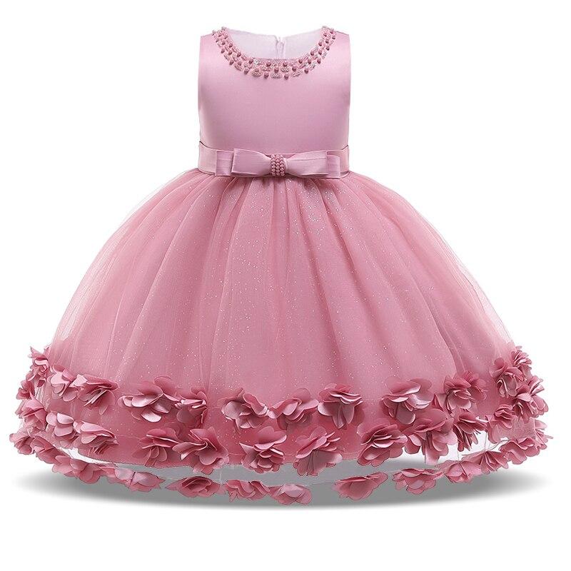 2020 flower tassel girls dress kids evening prom ball gown costume baby first communion dress with bow  vestidos de comunion