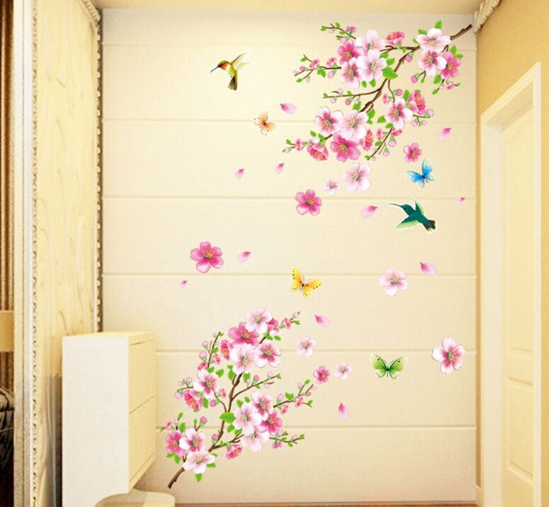 Calcomanías de pared de árbol de mariposa Flor de melocotón caliente