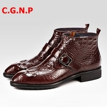 C.G.N.P Luxury Handmade Imported Cow Leather Martin Men Boots Pointed Toe High-top Men Shoes Buckles