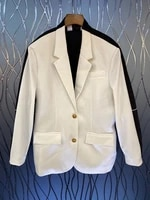 2021 new women fashion lapel front and back color matching stitching symmetrical pockets long sleeved blazer top 725