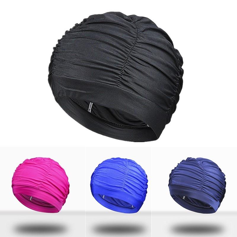 1PC New Swimming Hat Unisex Long Hair Bathing Cap Swimming Cap Stretch Drape Free Size Swim Pool Sport Elastic Nylon Turban