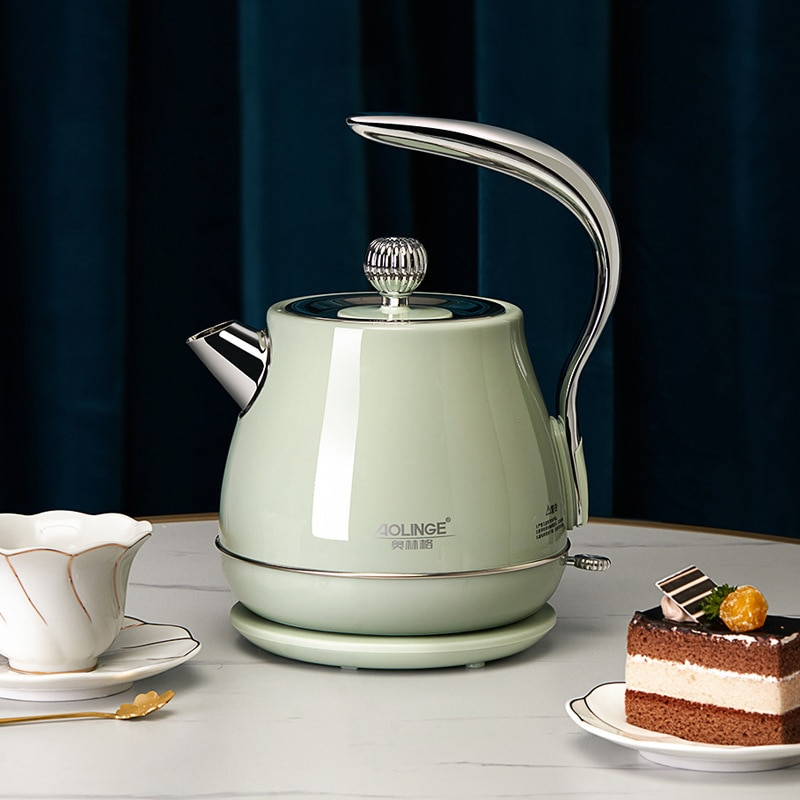 Retro Electric Kettle 304 Stainless Steel Household appliances 1.5L Portable Travel Water Boiler 1500W European style Coffee pot