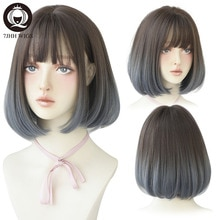 7JHH Omber Purple Ash Hari With Bangs Remy Short Blonde Wigs For Women Bob Heat Resistant Glueless Synthetic Wig Wholesale