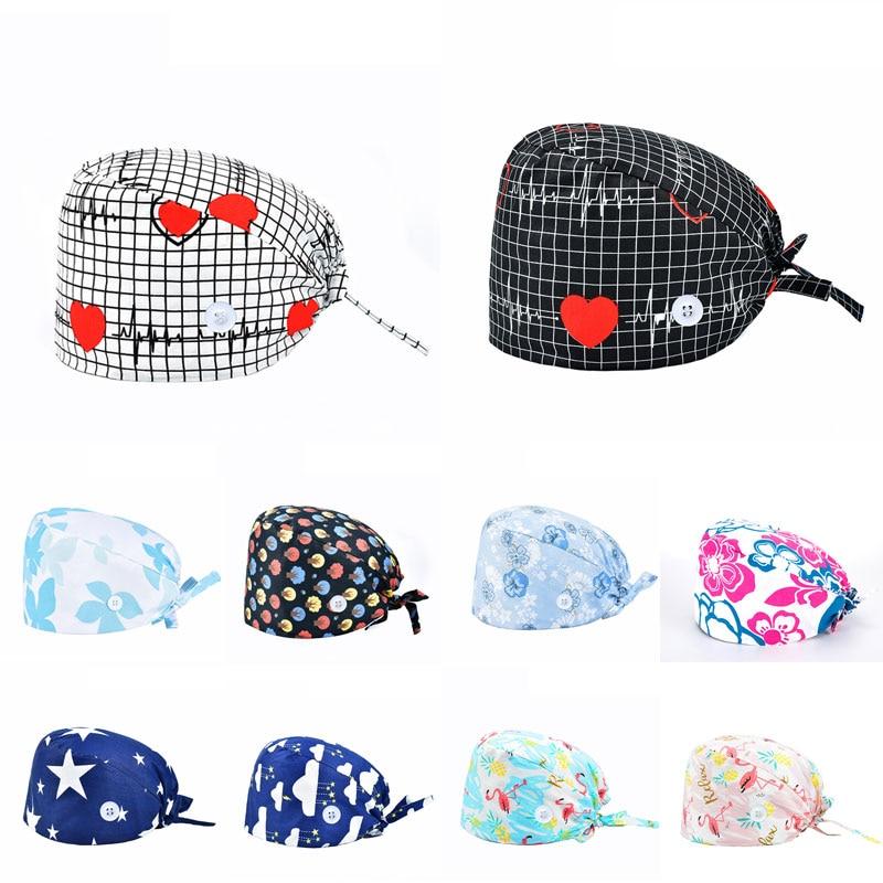 New Pure Cotton Printing Surgical Cap Unisex Adjustable Nurse Cap Buckle Elastic Beauty Hats Baotou