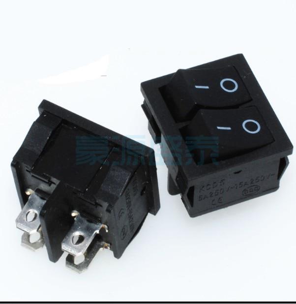 10 unids/lote KCD5 interruptor basculante doble 4P 4 pines 2 posiciones doble enclavamiento 6A/250V ON-OFF