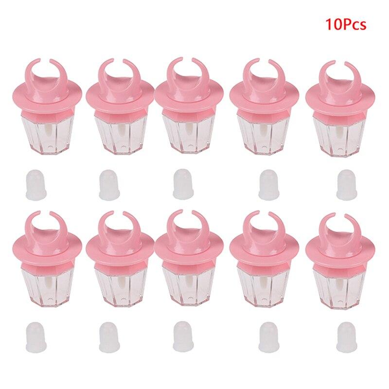 8ml Rosa diamante forma de anillo vacío botella brillo labios brillo tubo Rosa tubo para labial bálsamo botella cepillo de varilla contenedor 5/10 Uds