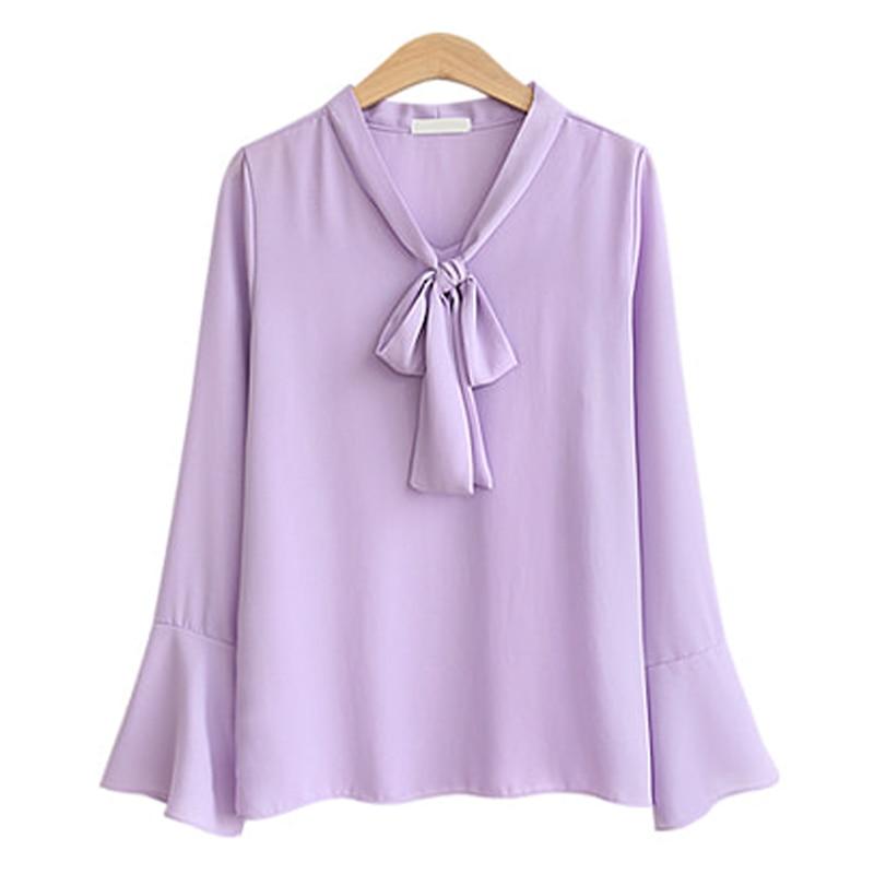 flare sleeve bow tie back blouse Women Fashion Elegant Chiffon Blouses Flare Long Sleeve Bow Neck Shirt Office Blouse Slim Casual Female Polka Dot Top