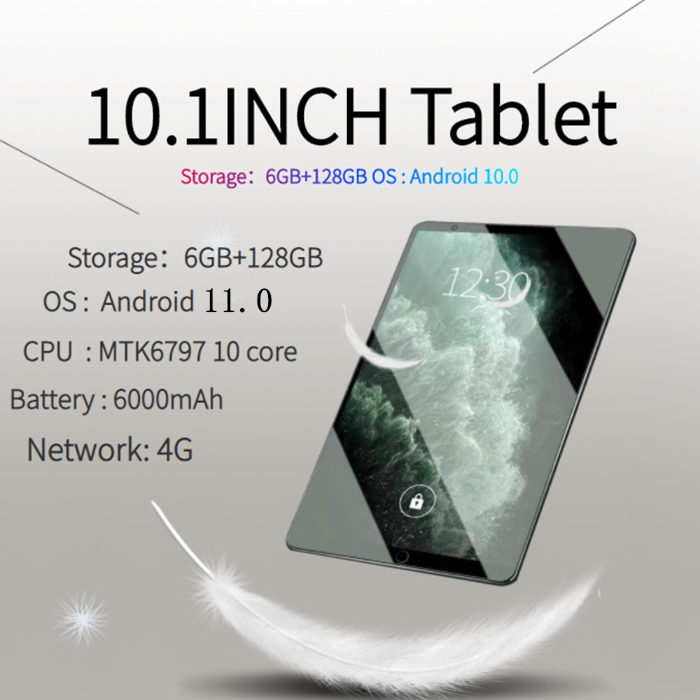 10.1 Inch TABLET ANDROID 11 6GB+128GB Netbook 1920x1200 Tablets PC Octa Core Tablette 4G LTE Laptops 13MP+24MP PAD Tablet Sale