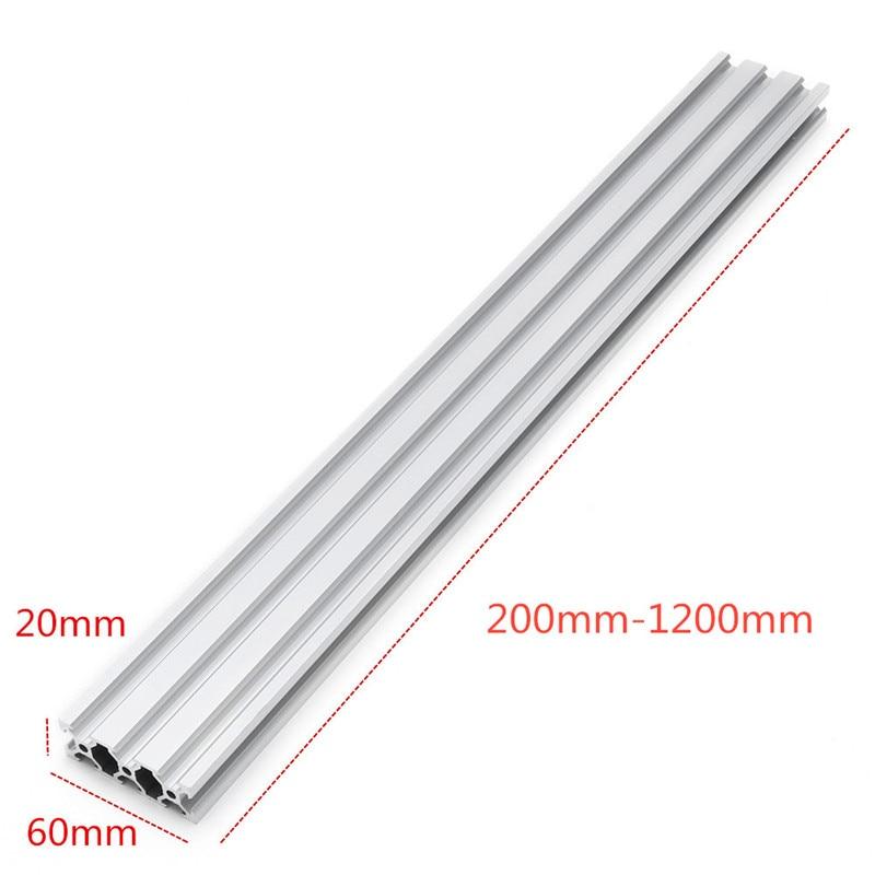 Extrusiones de aluminio plateadas con ranura en V de 2060, marco de extrusión de perfil de aluminio de 20x60mm para máquina de grabado láser CNC