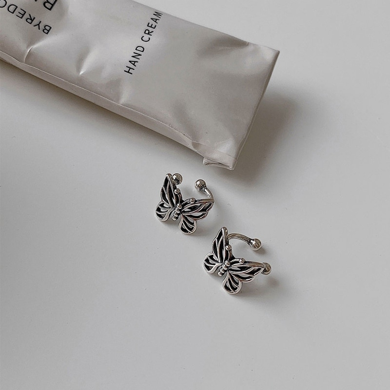 Mode Vintage Metall hohl Schmetterling Ohrclips für Frauen und Mädchen niedlich ohne Piercing Ohrschmuck
