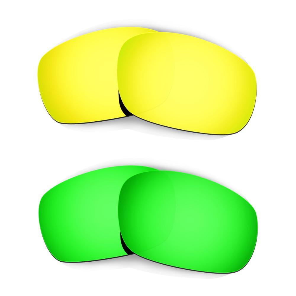 HKUCO ل عظم الفك (الآسيوية صالح) النظارات الشمسية استبدال العدسات المستقطبة 2 أزواج-الذهب والأخضر