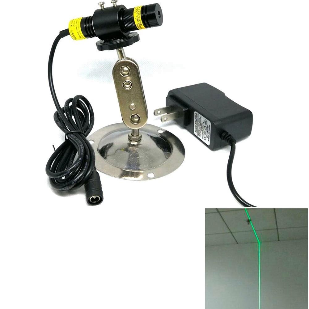 Фокусируемый 515 нм 30 мВт зеленый лазер точка% 2FLine% 2FCross диоды модуль w12V питание адаптер +% 26 локатор держатель
