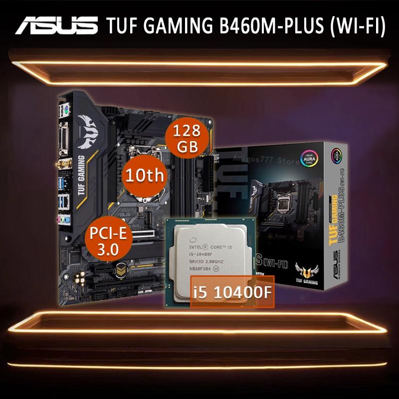 Asus TUF GAMING B460M-PLUS (WI-FI) Motherboard With Intel Core i5 10400F Motherboard Set DDR4 Overlocking gaming Placa-mãe 1200