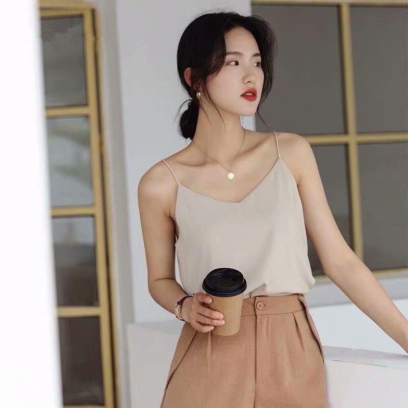 Coreano 2020 verão superior das mulheres com decote em v chiffon tank tops mulher sem mangas colete camisetas sexy branco preto básico cinta superior senhoras