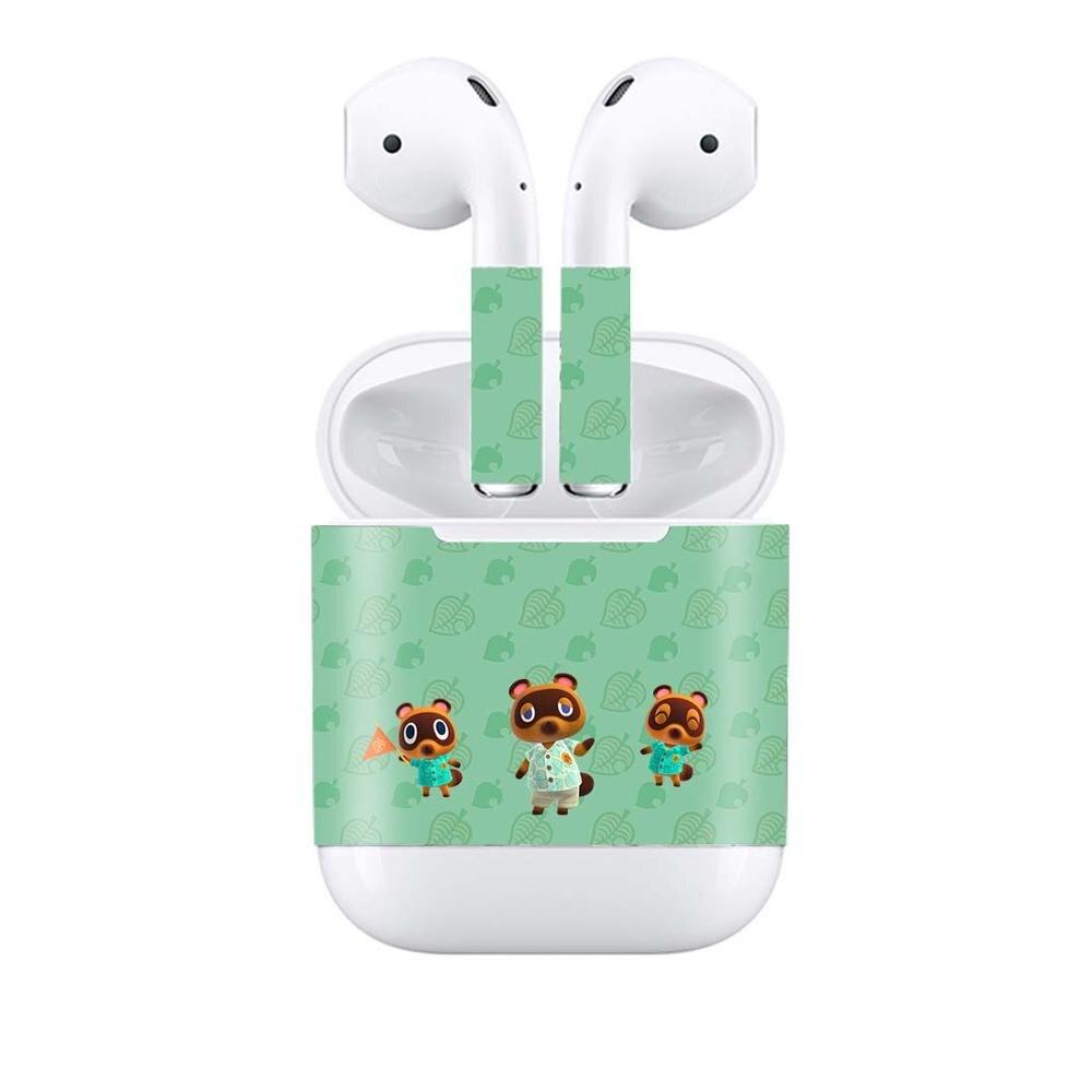 Pegatina de vinilo para auriculares Apple AirPods, pegatinas decorativas removibles para cruzado de animales, pegatina para envolver la cabeza