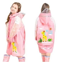 kids girl raincoats cute cartoon deer print clothes pink stars sleeve coat waterproof jumpsuit hooded children 1pcs rainwear